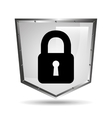 sign padlock security shield steel icon vector image