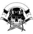skull in helmet with goggles and crossed knives vector image vector image