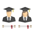 Graduates in gown and graduation cap icon vector image