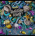 cartoon hand-drawn doodles underwater life vector image