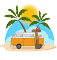 retro travel van with surfing board and palm tree vector image