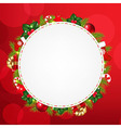 Speech Bubble With Christmas Icons And Red Bokeh vector image