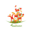 Easter with bunnies vector image vector image