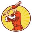 baseball retro symbol vector image vector image