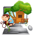 Monkey climbing up the treehouse on computer vector image