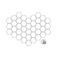 Bee insect animal Honeycomb set in shape of heart vector image
