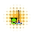 Bucket with a mop comics icon vector image