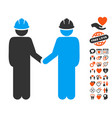engineer persons handshake icon with lovely bonus vector image