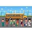 Multinational kids going to school vector image