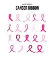 Breast cancer ribbon set in hand drawn style vector image