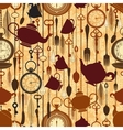 Vintage seamless tea time pattern vector image