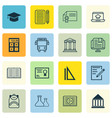 set of 16 school icons includes paper haversack vector image