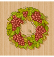 Retro grapes wreath vector image