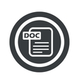 Round black DOC file sign vector image