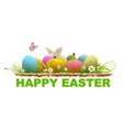 Happy easter Painted eggs and rabbit on green vector image