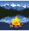 Campfire with stones near mountain lake vector image