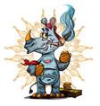 cute rhinoceros standing and smoking cigarette vector image