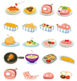 isolated set food vector image