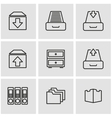 Line archive icon set vector image