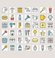 outline filled color bathroom icon sets vector image