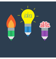 Pencil set with yellow light bulb lamp rocket fire vector image