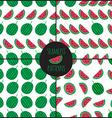 Set of 4 watermelon slice seamless pattern vector image