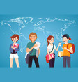 set of students with books on world map background vector image
