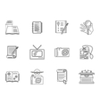 Thin line style journalism icons vector image