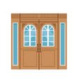 vintage double wooden doors closed elegant front vector image