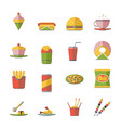 retro flat fast food icons and symbols set vector image vector image