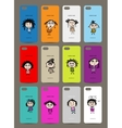 Mobile phone cover back  12 funny girls for your vector image vector image