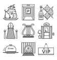 Black line icons for restaurant vector image