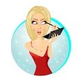 beautiful woman applying eyeliner pencil vector image