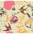 Vintage Love Swallow Birds Pattern vector image vector image