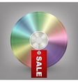 Blue-ray DVD or CD disc with label sale vector image