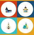 Flat icon christian set of architecture catholic vector image
