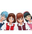 group anime girl manga vector image