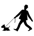 Silhouettes gentleman and his dog are walking vector image
