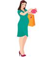 Pregnant woman shopper vector image vector image