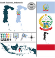 Map of South Sulawesi vector image vector image