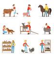 breeding animals farmland farm profession worker vector image
