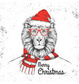 christmas hipster fashion animal lion vector image