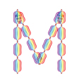 Letter M made in rainbow colors vector image