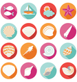 Sea Shell Flat and Summer Icons Set vector image