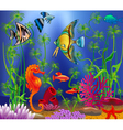 Underwater landscape with various water plants and vector image