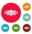 badge ribbon icons circle set vector image
