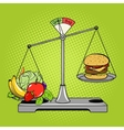 Balance scales with food comic book style vector image