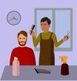 barbershop hairdresser and cuctomer cartoon vector image