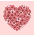 heart of flowers drawn contour lines vector image