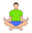 man sitting in lotus posture icon cartoon vector image